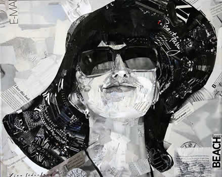 collage of lady with hat and sunglasses