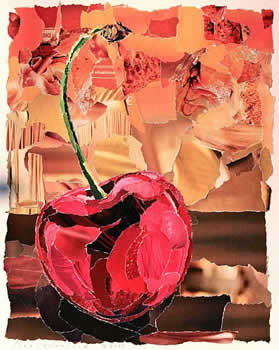 Collage of a cherry