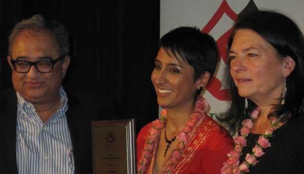 Irshad Manji receiving the Mansour Hallaj Freedom of Speech Award