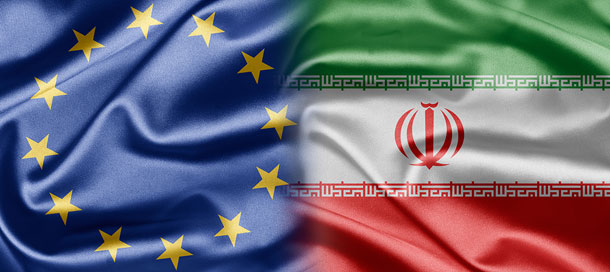 Flag from the European Union and Iran