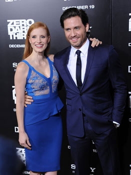 "Jessica Chastain & Edgar Ramirez arrive at the ""Zero Dark Thirty"" LA Premiere."