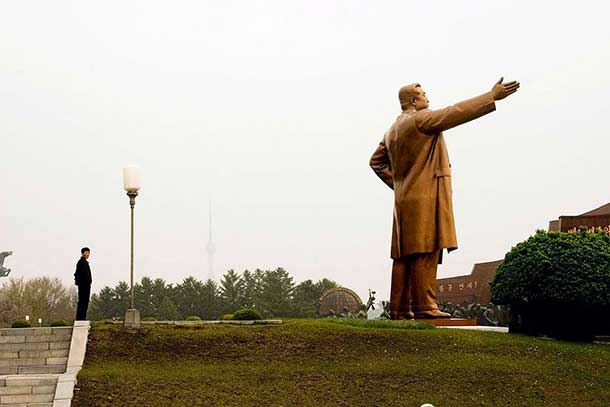 The statue of Kim Il Sung in Pyongyang is 25 metres tall. It is rumoured that it was once completely covered in gold. Chinese leader Deng Xiao Ping was shown the statue on an official visit and commented that it was too ostentatious. The gold covering was later removed.