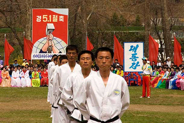 Martial arts performance at the May Day festivities.