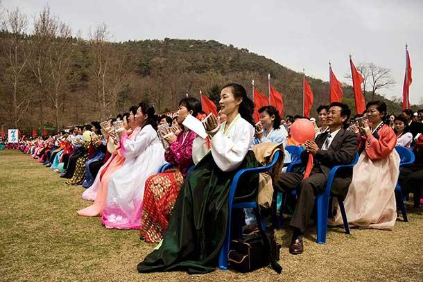 May Day festivities at a Pyongyang park.