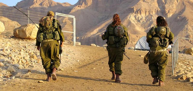 Female soldiers on patrol