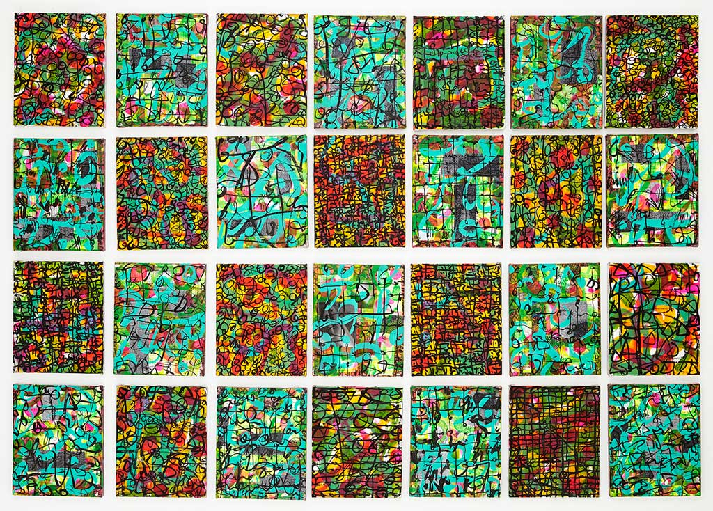 The Journey 2003-2013,  mixed media on canvas, 28 pieces, 2013