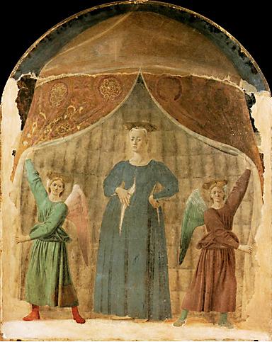 Piero della Francesca, Madonna del Parto,1467. Fresco, 260 x 203 cm.  Monterchi (Arezzo)