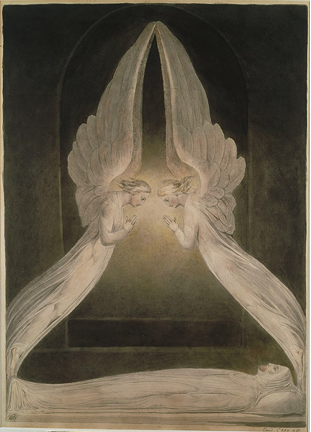 William Blake, Christ in the Sepulchre, Guarded by Angels. ca. 1805. Victoria and Albert Museum, London.