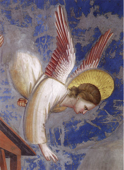 Giotto, Nativity¬ – Birth of Jesus (detail of angel calling the shepherds), 1304-06. Scrovegni Chapel, Padua