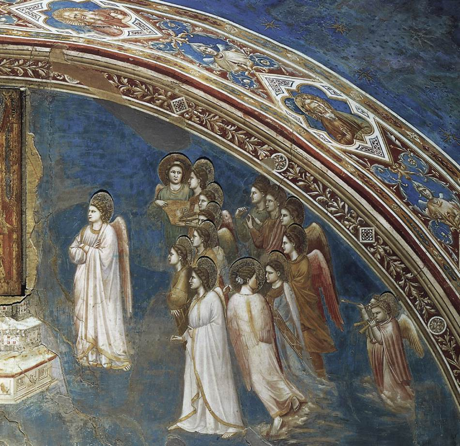 Giotto, The Angel Gabriel sent by God to the Virgin, 1306. Scrovegni Chapel, Padua (Italy)