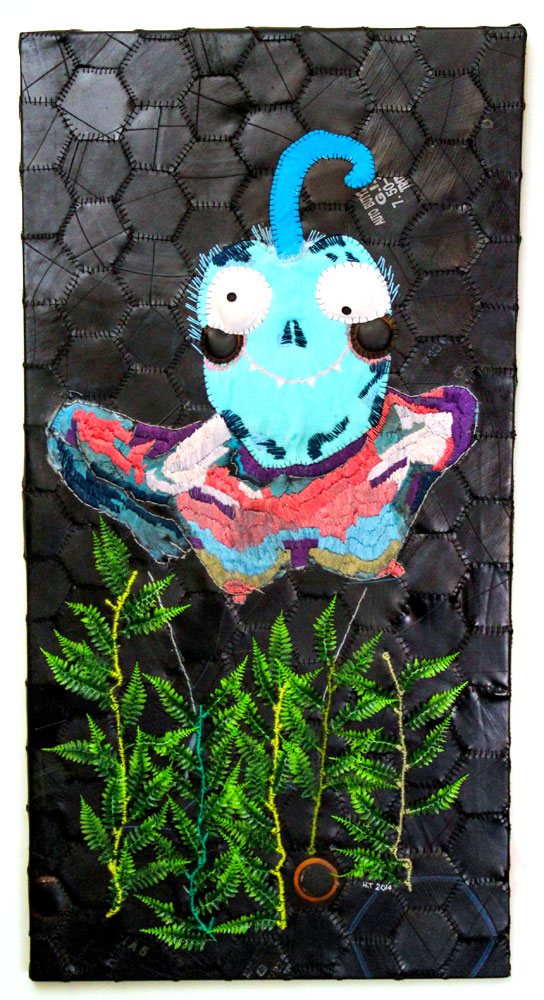 Genetically modified 127 x 64 cm Embroidery on rubber and appliquéd found objects (stretched canvas) 2014
