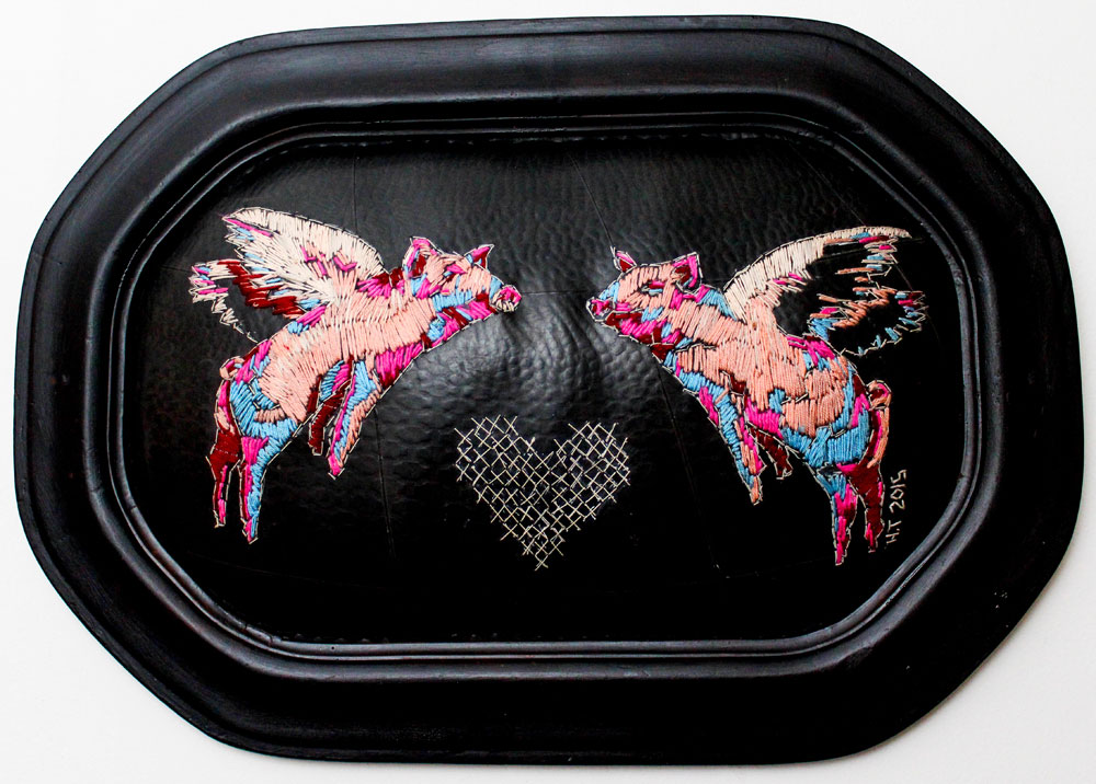 I'll cross my heart when..  49 x 34 cm Embroidery on rubber (framed) 2014
