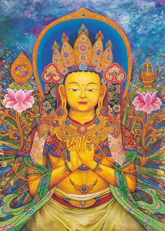 Maitreya con le mani nel mudra - gesto che indica l'insegnamento