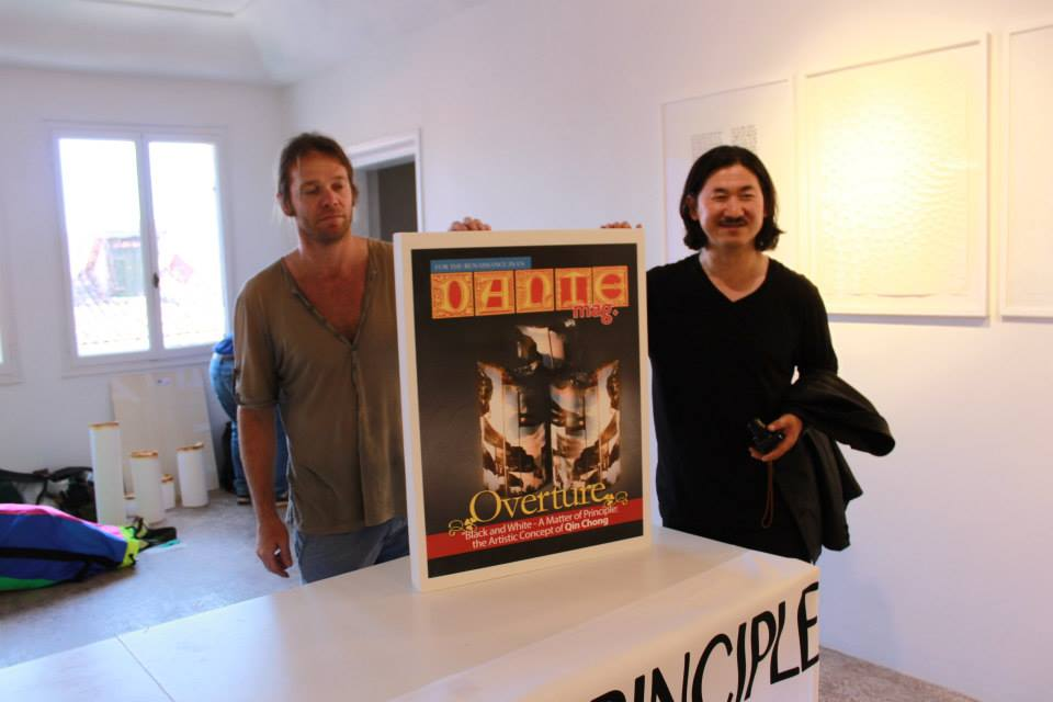 Artists, Marco Chiurato and qin Qin Chong with cover of DANTEmag made of sugar