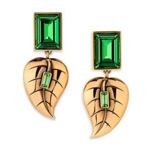 Atelier-Swarovski-by-Sandy-Powell-Leaf-Earrings---Green