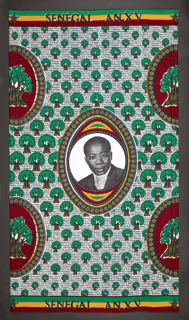 Printed-cloth-showing-President-Senghor-of-Senegal,-1975-(c)-Collet