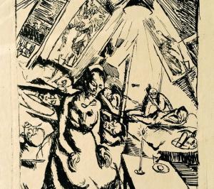 A lithograph by Cornelia Gurlitt of a WWI hospital tent in Vilnius, Lithuania. Source: Kunsthaus Desiree/Knecht Verlag