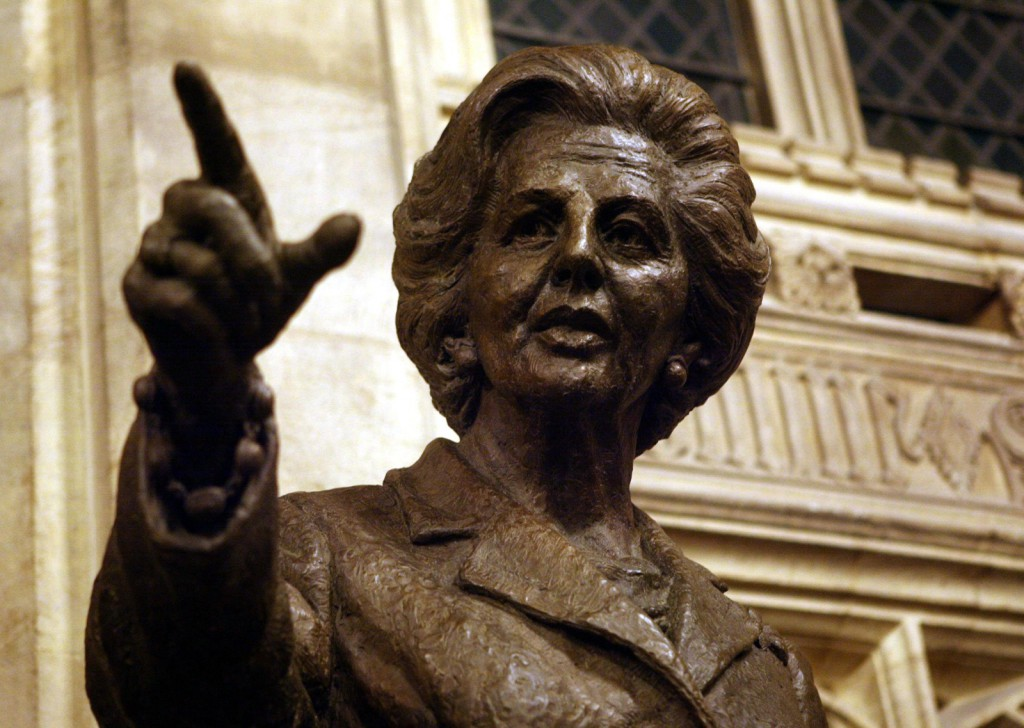 Margaret Thatcher statue in London's parliament. Other memorials to the only U.K. female Prime Minister have been attacked.