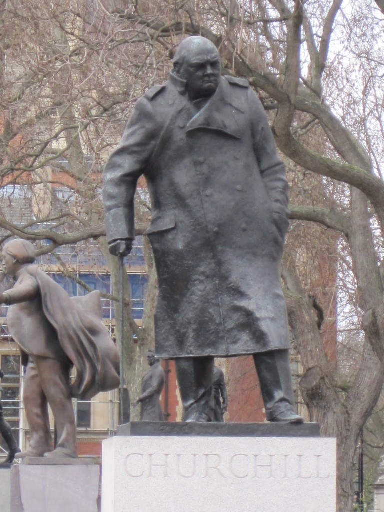 Campaigners argue that if Rhodes falls Churchill will follow. The statue is in London.