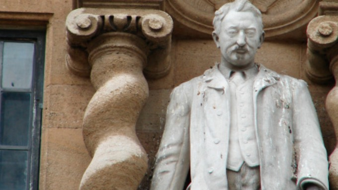 A closeup of the Rhodes statue. - ITV stream