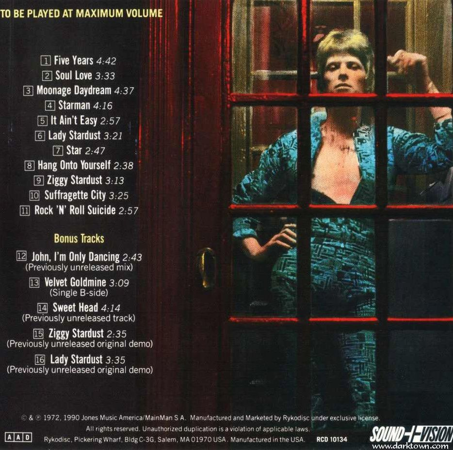 The rear cover of the Ziggy Stardust album, Rykodisc