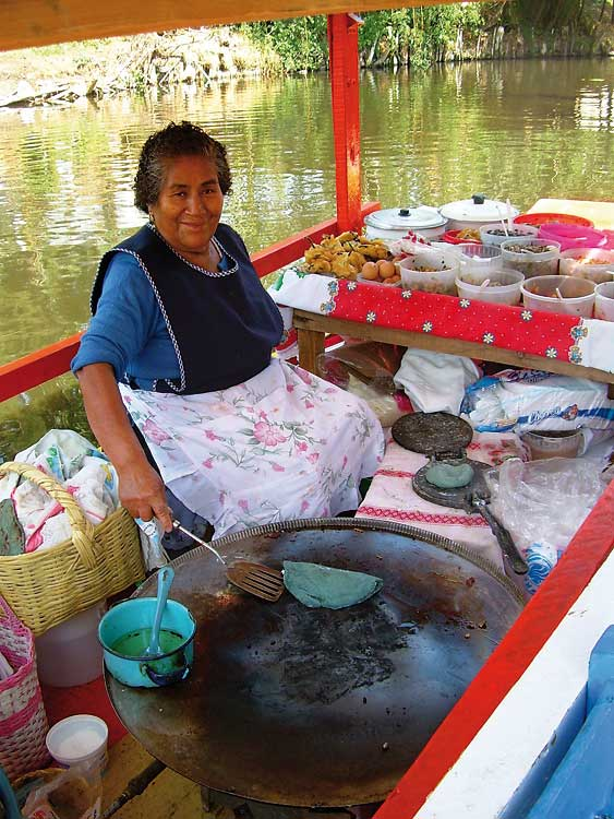 Mrs Mari on the Xochimilco river