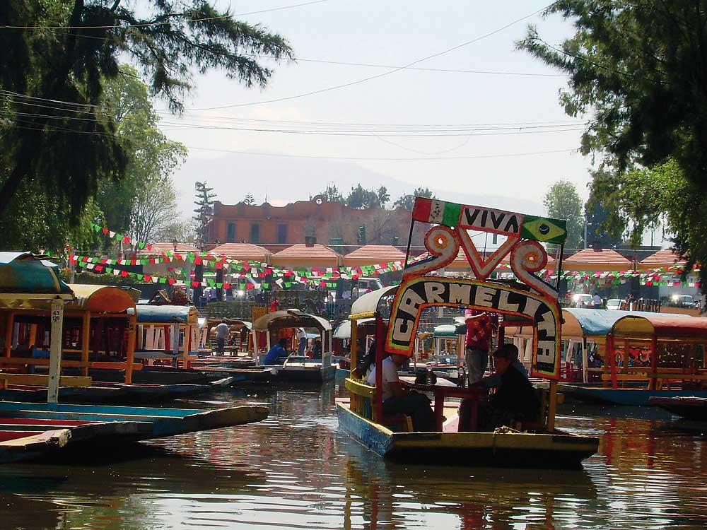 river party with boats - Xochimilco