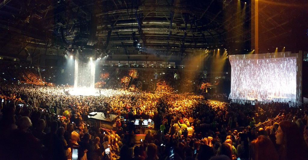 """Panorama of Adele Belfast show - """"Set Fire to the Rain"""" sequence. Mark Beech"""