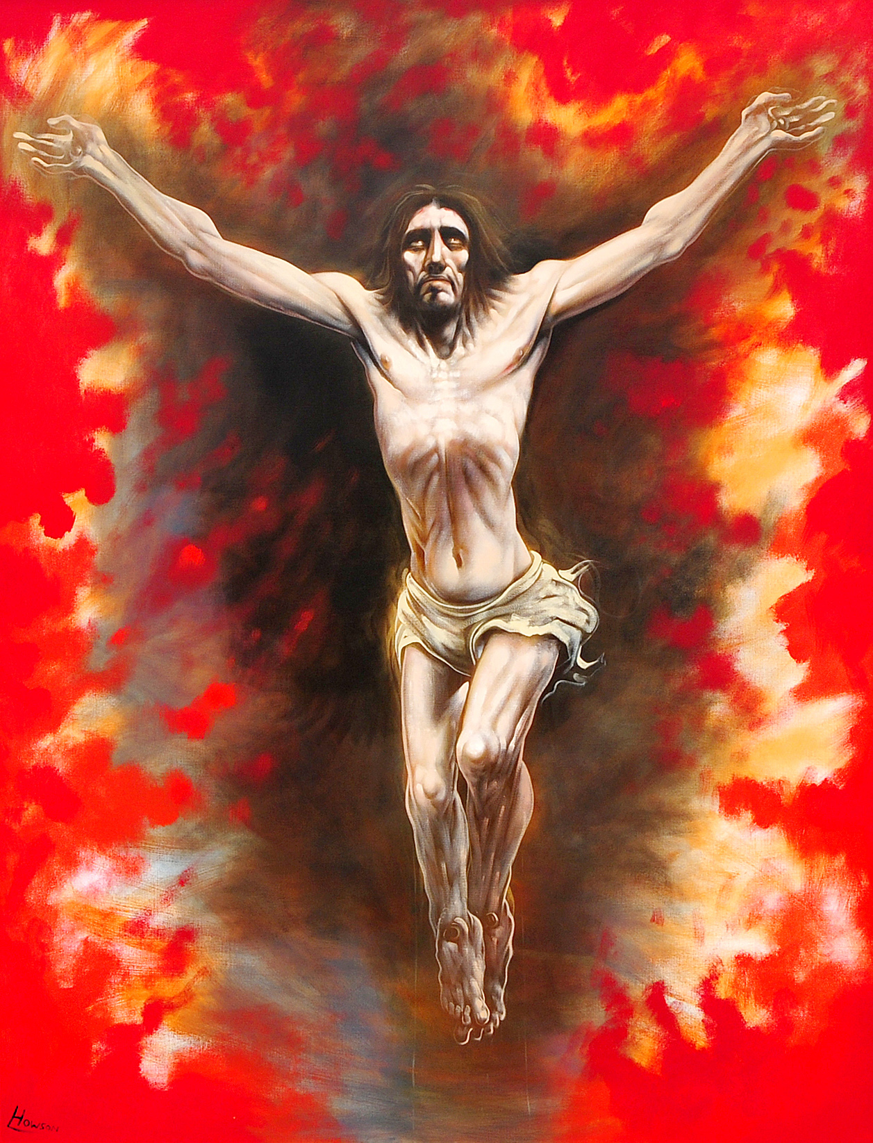 "ARR Peter Howson, (b.1958) Crucifixion, an epic representation of Christ on the Cross surrounded by flames and a red sky Oil on canvas, signed lower left 94.5"" x 71"", (240cm x 180cm) Flowers Gallery label verso"