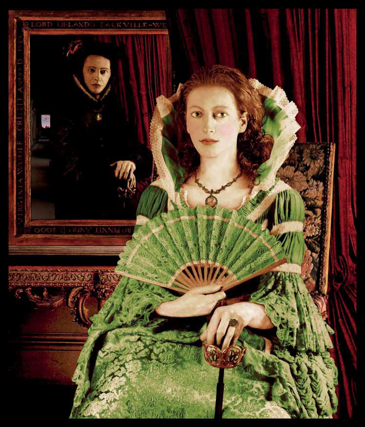 "Orlando This is one of the series of ""Literary Portraits"" that the artist dedicated to his favourite books. In this case, the Virginia Wolf sex-change character is represented in two guises. In the background, Orlando is shown as a fey Lord Orlando at the time of Queen Elisabeth I; then again immaculately transformed as a posed and sexy Lady Orlando in the 17th-century."