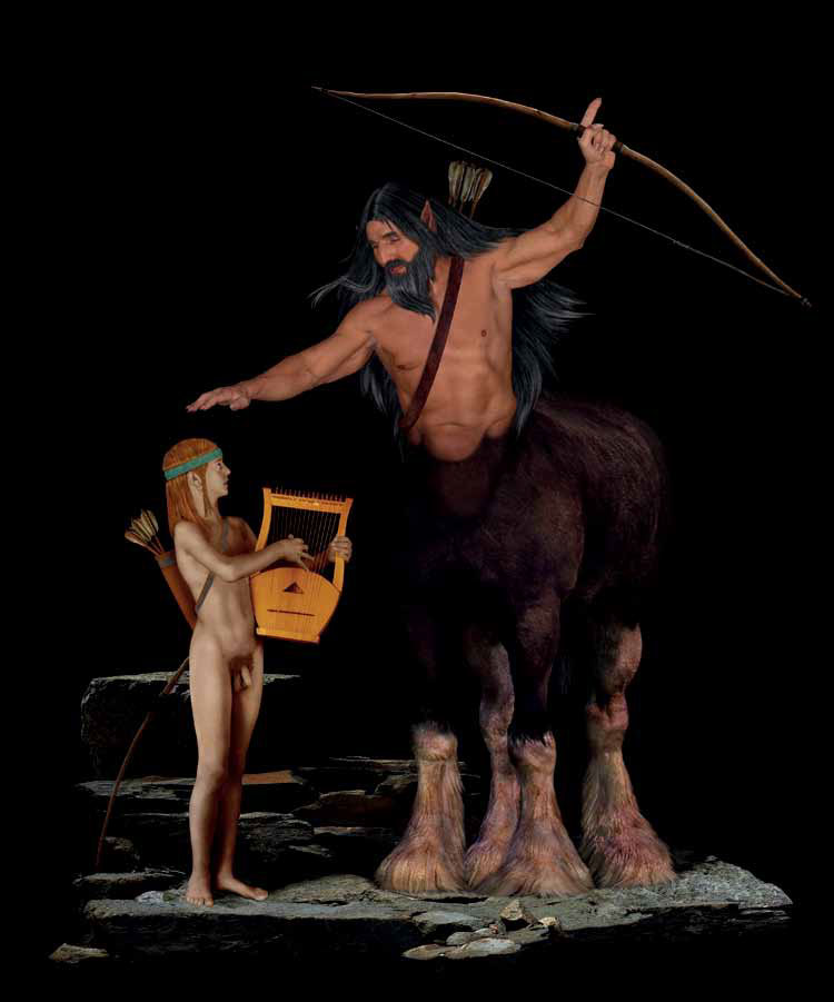 The Education of Achilles This tells the story of the invincible Greek hero who has been entrusted for his education by his mother Thetis to the centaur Chiron, who was the custodian of all human knowledge.