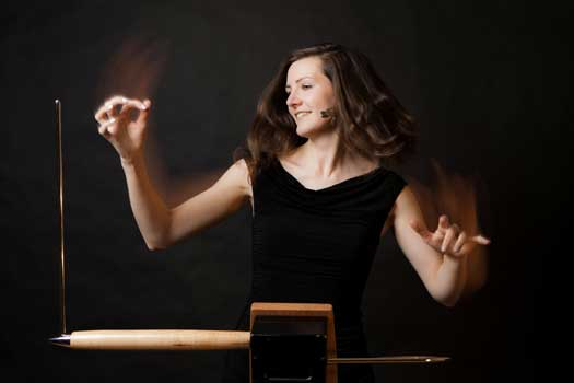 Carolina Eyck playing the theremin