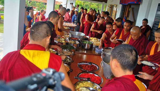 Lunch is served at the monastery