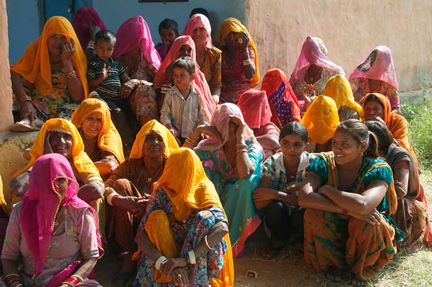 Village women attending a RRI school programme