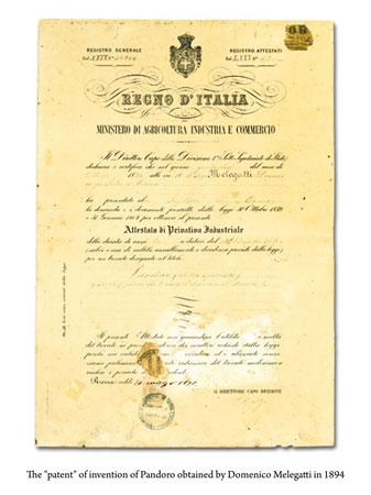 Patent certificate granted to Domenico Melegatti 1894