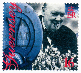 1995 stamp printed in Guernsey shows Winston Churchill Liberation of Guernsey