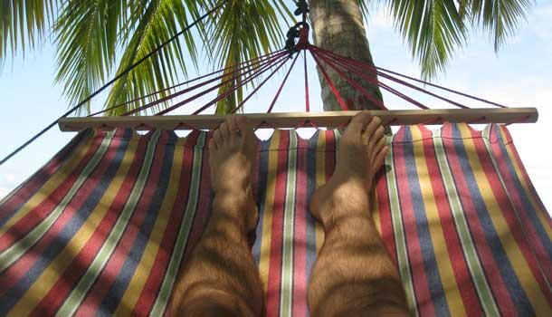 Relaxing on hammock in Ansuelo Island