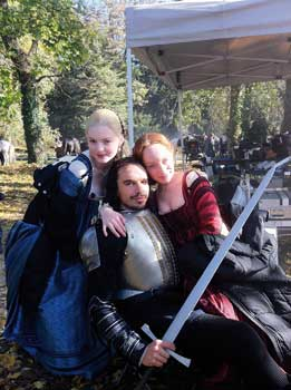 Edward with Lotte Verbeek and Holyday Grainger on the Borgias
