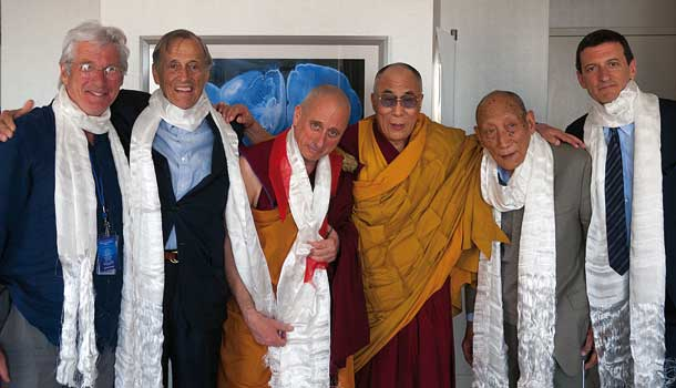 His Holiness the Dalai Lama, Khyongla Rato Rinpoche and Nicholas Vreeland after the investiture, along with his father Frederick Vreeland, his brother Alexander, and Richard Gere.