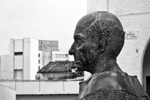 Sculptur of PabloRuiz Picasso in the Picasso Square, Malaga, Spain