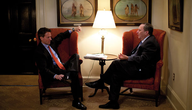 Timothy Geithner and Larry Summers in the West Wing Hall
