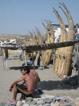 Traditional reed boats, Huanchaco