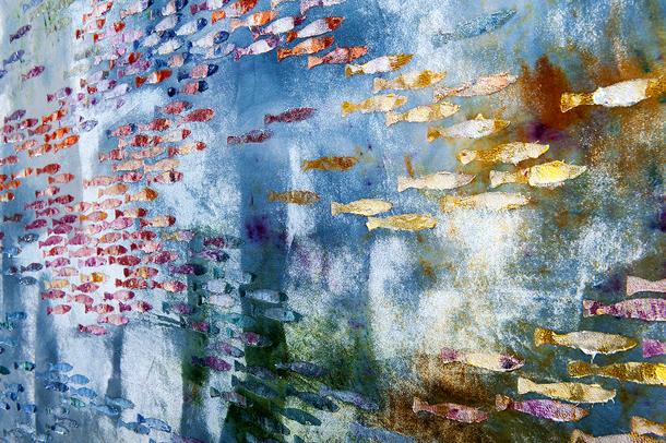 Detail of Water rainbow painting using Murano glass