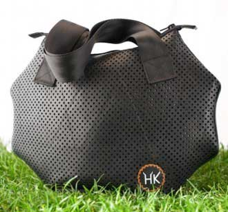 Fashion bag made with tires and inner tube by Hell's Kitchen Marco Lai