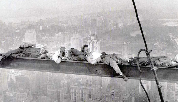 Workers building on Empire State Building