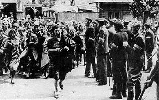Lithuanian Militia rounding up Jews, Kovno 1941