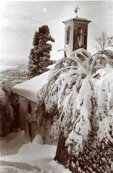 Vintage image of church when snowed